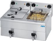 Saro Elektro-Doppel-Fritteuse Profi 10+10 Liter mit Ablasshahn
