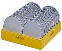 Korb (Kunststoff, gelb) für flache Teller / Untertassen, Fassungsvermögen: 18 Teller, D=240 mm oder 27 Untertassen, D=150 mm