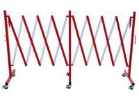 Absperr-Scherengitter rot/weiß mit 6 Rädern