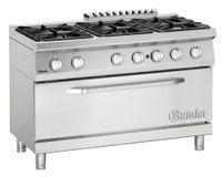 Cuisinière à gaz Bartscher 700 Classic à 6 feux avec four à gaz