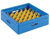 Korb (Kunststoff, blau) für Gläser mit Facheinteilungen und geneigtem Boden, Fassungsvermögen: 36 Gläser, H=120 mm, D=70 mm