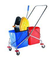 Chariot avec seaux et essoreuse à serpillière, capacité 2 x 17 litres