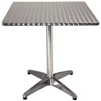 Table de café Bolero 700 mm carrée avec plateau en inox
