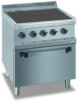 Elektroherd Dexion Serie 77 - 70/70 mit Elektrobackofen - quadratische, abgesenkte Kochfelder