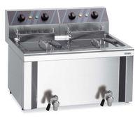 Elektro-Doppel-Fritteuse Profi 12+12 Liter mit Ablasshahn, 400 V