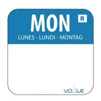 Étiquettes lundi/bleu détachables - 1.000 pièces