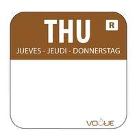 Wochentagetiketten Do/braun entfernbar - 1.000 Stück
