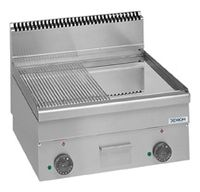 Gas-Grillplatte Dexion Serie 66 - 60/60 1/2 glatt, 1/2 gerillt Tischgerät