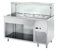 Ausgaben Kühltisch PROFI offen mit eckigem Glasaufsatz 1500x700x1300