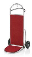 Gepäcktransportkarre, Edelstahlrohr, Teppichbelag rot