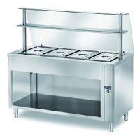 Table chauffante de libre-service PROFI ouverte avec structure en verre 1500x700x1400 – 4x GN 1/1