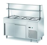 Ausgaben Kühltisch PROFI neutral mit Schiebetüren und Glasaufsatz 1500x700x1400 - 4x GN 1/1