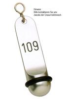 Hotel-Schlüsselanhänger Leichtmetall Gravur 115 x 30 - Silber