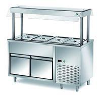 Ilot buffet PROFI froid avec deux tiroirs et écran de protection hygiénique 1500x700x1500 – 4x GN 1/1