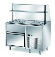 Ausgaben Kühltisch PROFI B200 mit Schublade und Glasaufsatz 1200x700x1400 - 3GN1/1