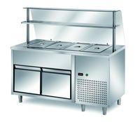 Ausgaben Kühltisch PROFI B200 mit Schublade und Glasaufsatz 1500x700x1400 - 4GN1/1