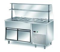 Ausgaben Kühltisch PROFI B200 mit Schublade und Glasaufsatz 2000x700x1400 - 5GN1/1
