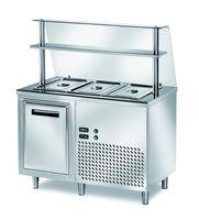 Ausgaben Kühltisch PROFI gekühlt B200 mit Flügeltüren und Glasaufsatz 1200x700x1400 - 3x GN 1/1