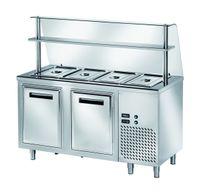 Ausgaben Kühltisch PROFI gekühlt B200 mit Flügeltüren und Glasaufsatz 1500x700x1400 - 4x GN 1/1