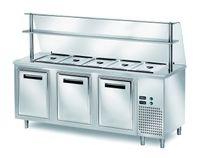 Ausgaben Kühltisch PROFI gekühlt B200 mit Flügeltüren und Glasaufsatz 2000x700x1400 - 5x GN 1/1
