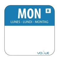 Wochentagetiketten Mo/blau wasserlöslich - 1.000 Stück