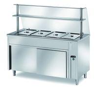 Table chauffante de distribution PROFI neutre avec une porte et structure en verre 900x700x1400 – 2x GN 1/1