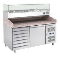 Table pizzaïolo ECO 1/7 avec présentoir réfrigéré ECO 7 x GN 1/4