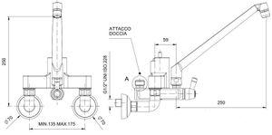 Zweiloch Geschirrwaschbrause Profi 200 + Mischbatterie Wand