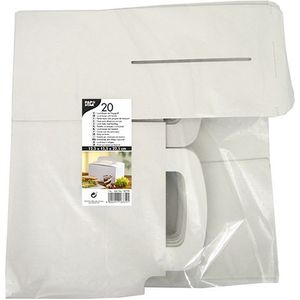Papstar 20 Lunch-Boxen, Pappe eckig 12,5 cm x 15,5 cm x 22,5 cm weiss mit Tragegriff