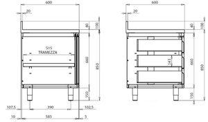 Edelstahl-Arbeitsschrank ECO mit Schiebetür und 3 Schubladen 20x6
