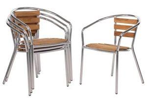 Aluminium - Eschenholzarmlehnstühle Bolero stapelbar 4 Stück