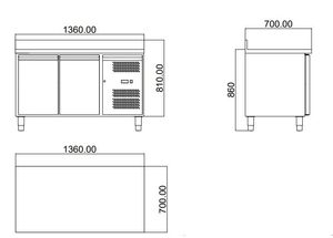 Tiefkühltisch ECO 2/0 mit Aufkantung - GN 1/1
