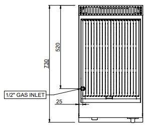 Grill à pierre de lave à gaz Dexion série 77 - 40/70