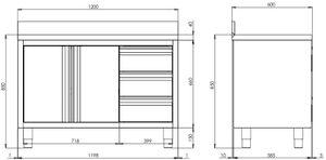 Edelstahl-Arbeitsschrank ECO mit Flügeltür und 3 Schubladen 12x6 mit Aufkantung