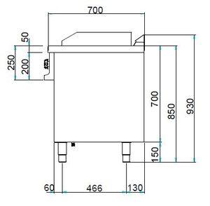 Elektrogrillplatte Dexion Serie 77 - 70/70  ½ glatt, ½ gerillt
