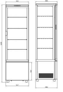 Kühlvitrine Polar 235L schwarz - mit gebogener Glastür