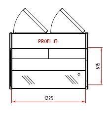 Fischkühltheke Profi 13x9 - rundes Frontglas