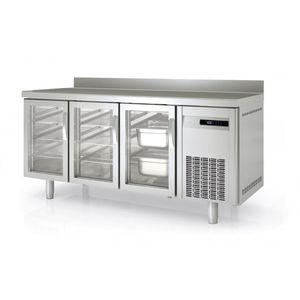 Bäckereikühltisch Premium 3/0 mit Aufkantung und Glastüren
