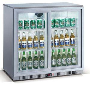 Refroidisseur de bouteilles ECO 208 litres à portes coulissantes, argenté