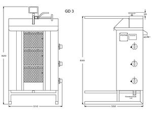 Potis Dönergrill / Gyrosgrill Erdgas GD3 - achteckige Fettwanne
