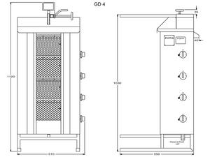 Potis Dönergrill / Gyrosgrill Propangas GD4 - achteckige Fettwanne