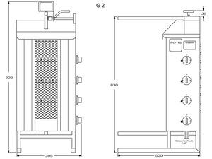 Potis Dönergrill / Gyrosgrill Propangas G2 - achteckige Fettwanne