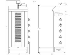 Potis Dönergrill / Gyrosgrill Erdgas G3 - achteckige Fettwanne