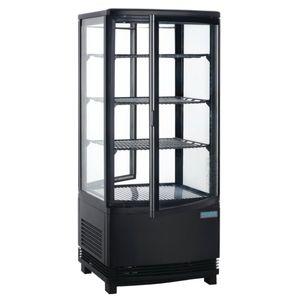 Kühlvitrine Polar 86L schwarz - mit 2 gebogenen Glastüren