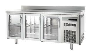 Tiefkühltisch Premium 3/0 mit Glastüren und Aufkantung
