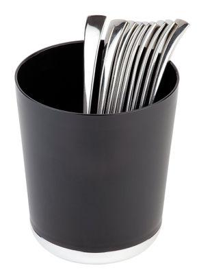 APS Tischreste- / Besteckbehälter schwarz Ø 13 cm, H: 15 cm