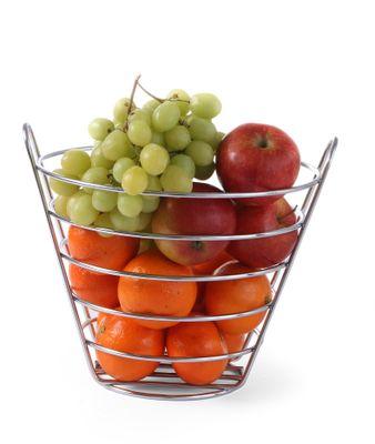 Corbeille de fruits chromée