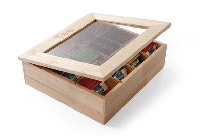 Boîte à thé en bois avec fenêtre