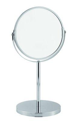 Miroir sur pied cosmétique chromé - Diamètre 17 cm, hauteur 34 cm