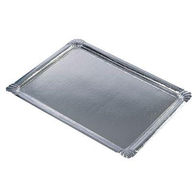 10 assiettes de service Papstar, carton, carrées enduites de PET 34 cm x 45,5 cm argent